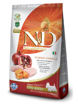 Natural & Delicious Dog Grain-free Pumpkin Adult Mini piščanec