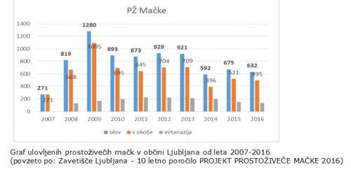 Graf ulovljenih prostoživečih mačk v občini Ljubljana