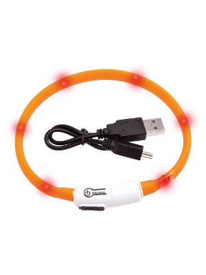 LED svetleča ovratnica za mačke in manjše pse 35cm oranžna