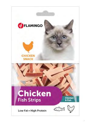 Flamingo Chicken & Fish Strips 85g mačji priboljšek